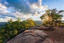 HDR, Lakes Region, NH, New England, New Hampshire, North America, Rattlesnake Mountain, USA, United States, landscape, scenic, starburst, summer, sunburst, sunset, tide