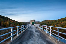 Keene, NH, New Hampshire, Otter Brook Dam, fall color, fall, autumn, dusk