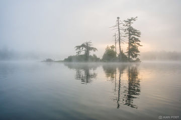 Adirondack Park, New York, island, lake, fog, sunrise, morning