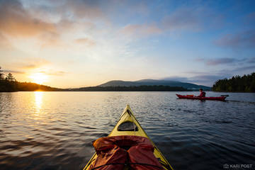 kayak, paddle, kayakers, kayaking, Squam Lake, New Hampshire, Lakes Region, sunrise
