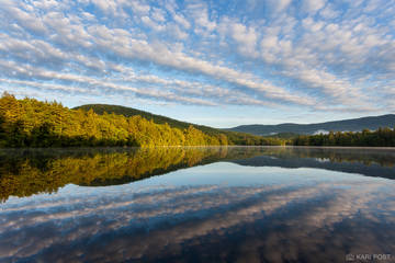 Lakes Region, NH, New England, New Hampshire, North America, Squam Lake, Squaw Cove, USA, United States, clouds, lake, morning, reflection, summer, water