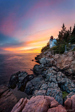Acadia National Park, Atlantic Ocean, Bass Harbor Head Lighthouse, ME, Maine, Mount Desert Island, New England, North America, USA, United States, lighthouse, ocean, pink, sunset
