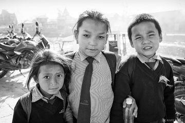Kathmandu, Nepal, boy, child, children, girl, school uniforms