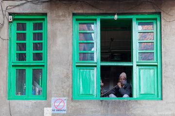Kathmandu, Nepal, Nepali, no smoking, portrait, smoking, window