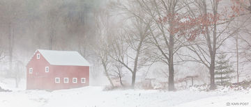 fog, barn, snow, winter, New England, rural