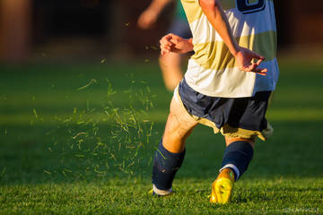 #LCSharks, Landmark College, Landmark Sharks, athletics, backlit, grass, kick, soccer, sports