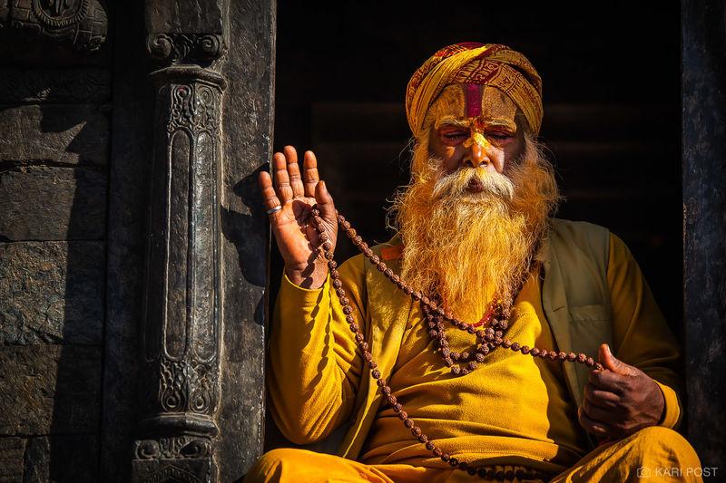 Kathmandu, Nepal, Pashupatinath Temple, beads, bearded man, holy man, man, old man, sadu, yellow