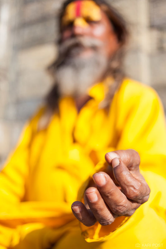 Kathmandu, Nepal, Pashupatinath Temple, fingers, gesture, hands, peace, sadu