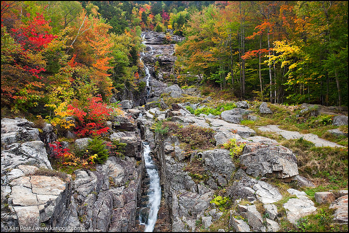 Silver Cascade, autumn, maple, Crawford Notch State Park, Crawford Notch, New Hampshire