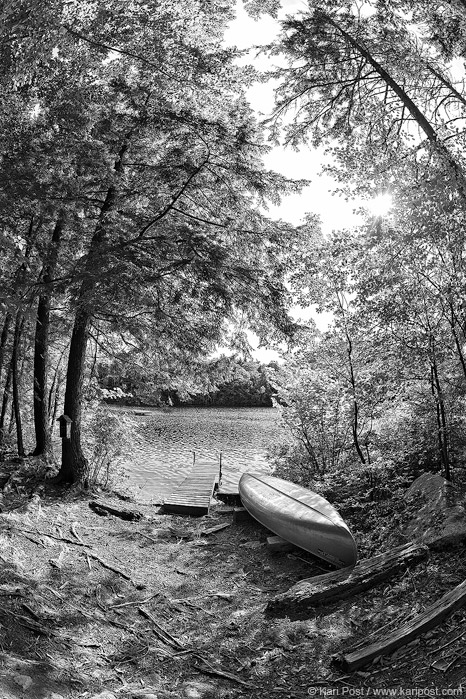 New Hampshire, Squam Lake, canoe, lakes region, fisheye, black and white