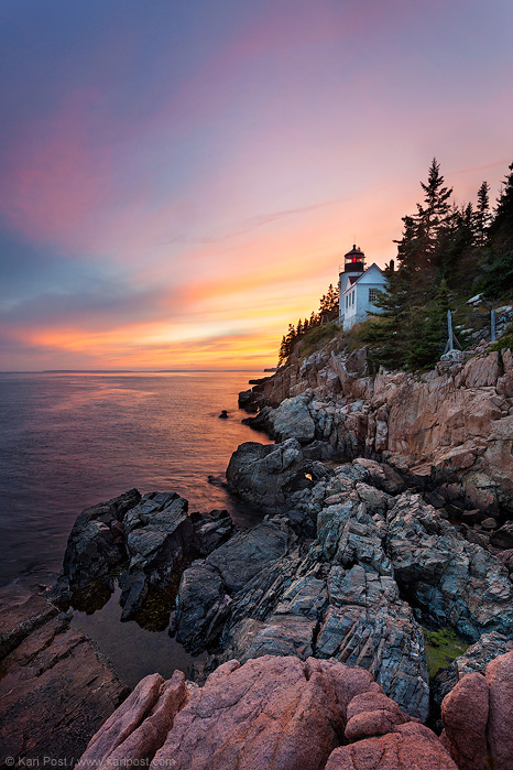 Bass Harbor Head, bass harbor head lighthouse, lighthouse, sunset