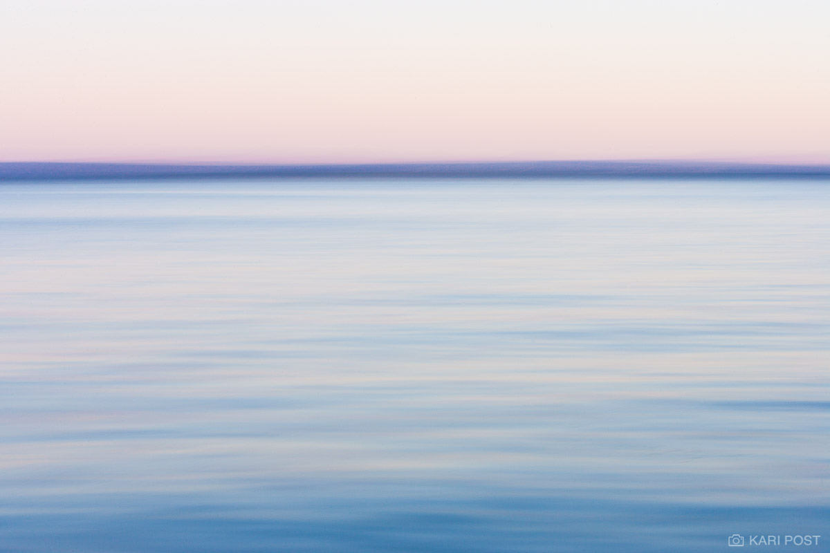 An abstract take on the distant shoreline of Oneida Lake during a pastel sunset.