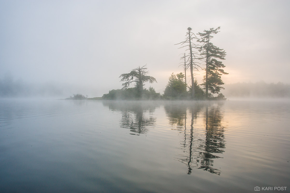 Adirondack Park, New York, island, lake, fog, sunrise, morning, photo