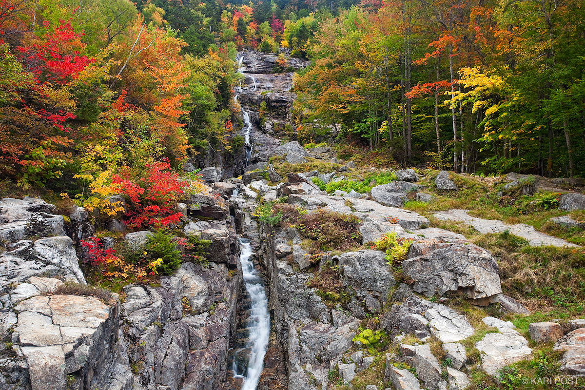 Silver Cascade, autumn, maple, Crawford Notch State Park, Crawford Notch, New Hampshire, photo