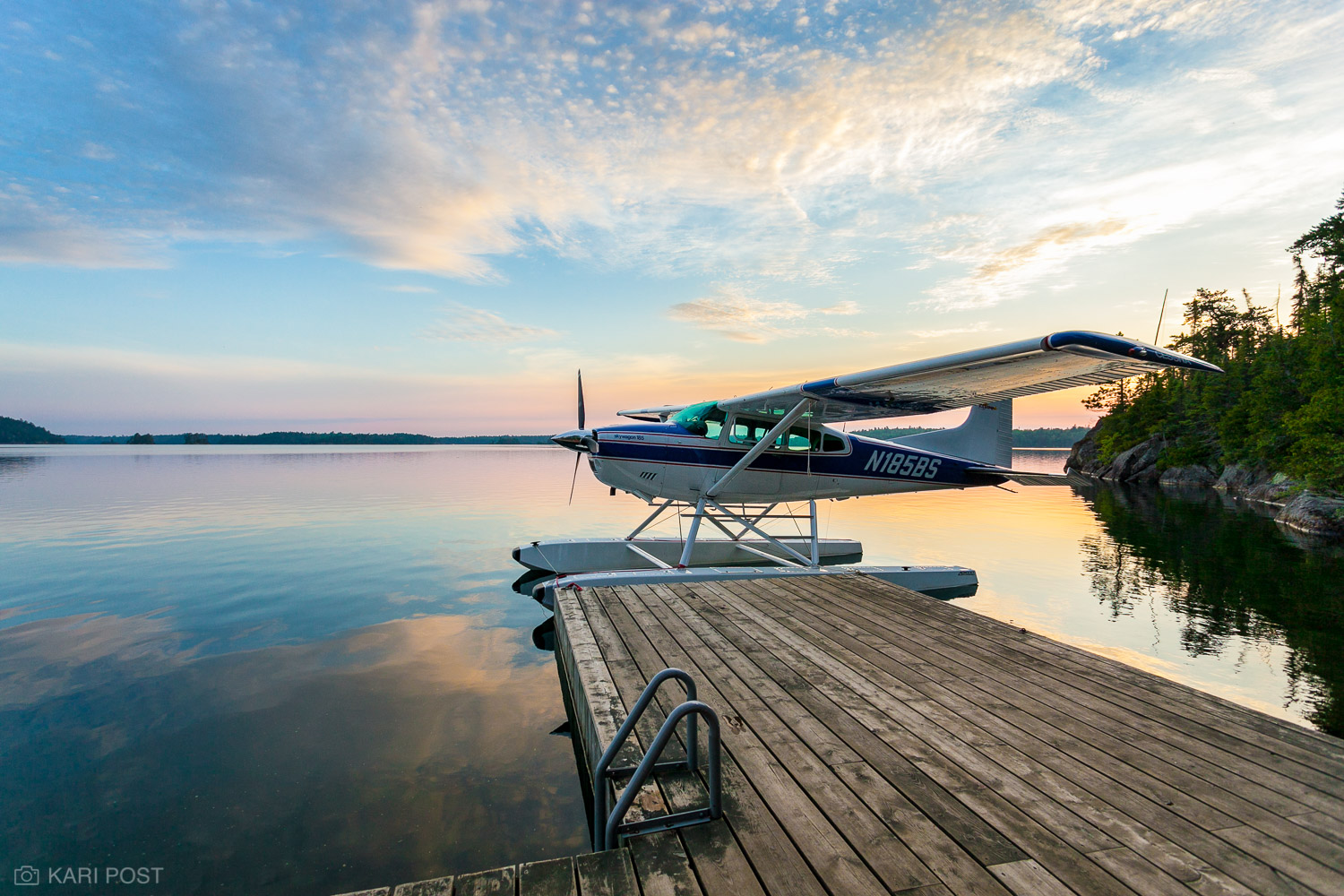 Canada, Lake Temagami, Ontario, Skywagon 185, Temagami, Temagami Wilderness, adventure, airplane, dawn, float plane, lake, pastel, peaceful, plane, reflection, sea plane, sunrise, tranquil, travel, photo