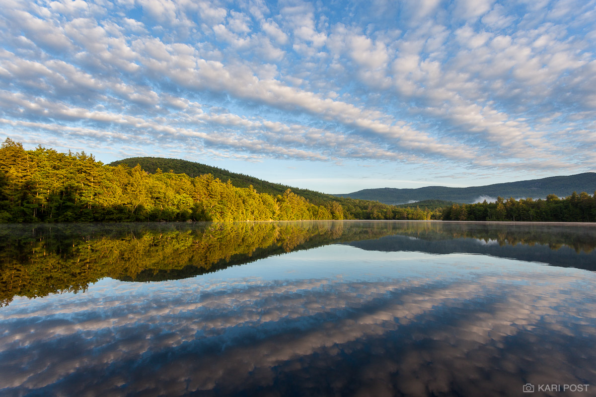 Lakes Region, NH, New England, New Hampshire, North America, Squam Lake, Squaw Cove, USA, United States, clouds, lake, morning, reflection, summer, water, photo