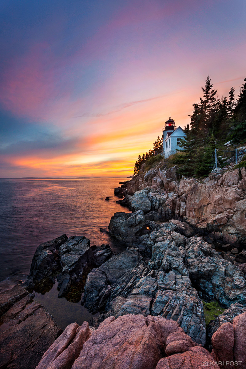 Acadia National Park, Atlantic Ocean, Bass Harbor Head Lighthouse, ME, Maine, Mount Desert Island, New England, North America, USA, United States, lighthouse, ocean, pink, sunset, photo