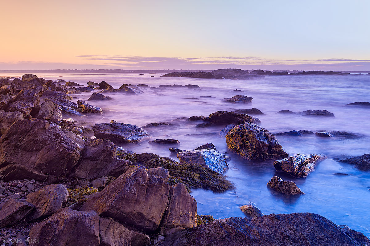 A blue and gold polarizing filter brings out the colors of dawn on the Rhode Island seacoast.
