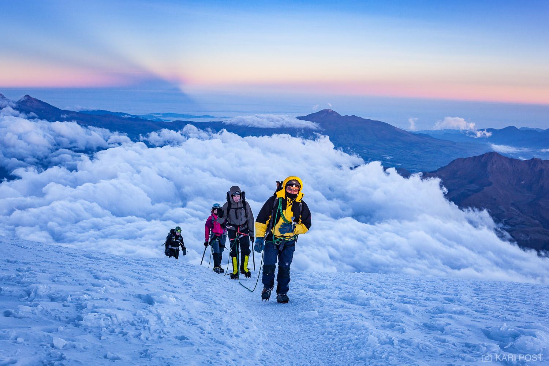 Andean Mountains, Andes, Cotopaxi, Ecuador, Johns Hopkins University, South America, blue, glacier, mountain, mountain guide, mountaineering, mountains, rope team, sunrise, volcano, photo