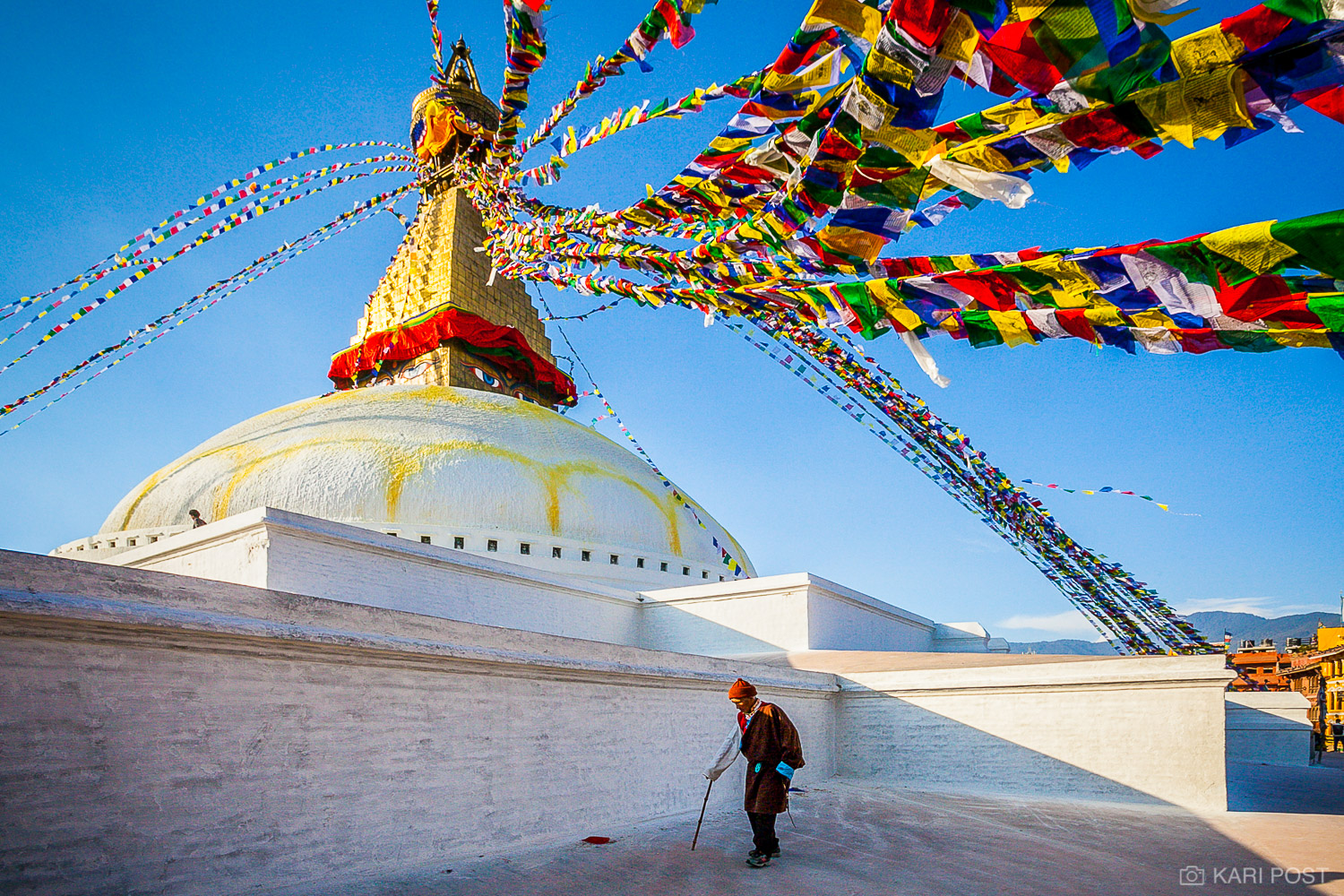 Kathmandu, Nepal, Nepali, Stupa Boudhanath, colorful, elderly man, man, old man, prayer flags, stupa, cane, travel, walking, photo