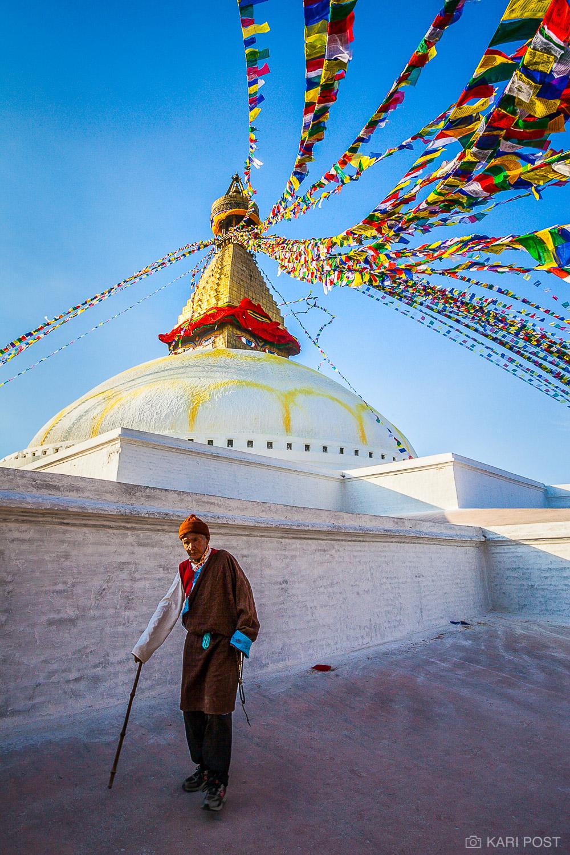 Kathmandu, Nepal, Nepali, Stupa Boudhanath, colorful, elderly man, man, old man, prayer flags, stupa, photo