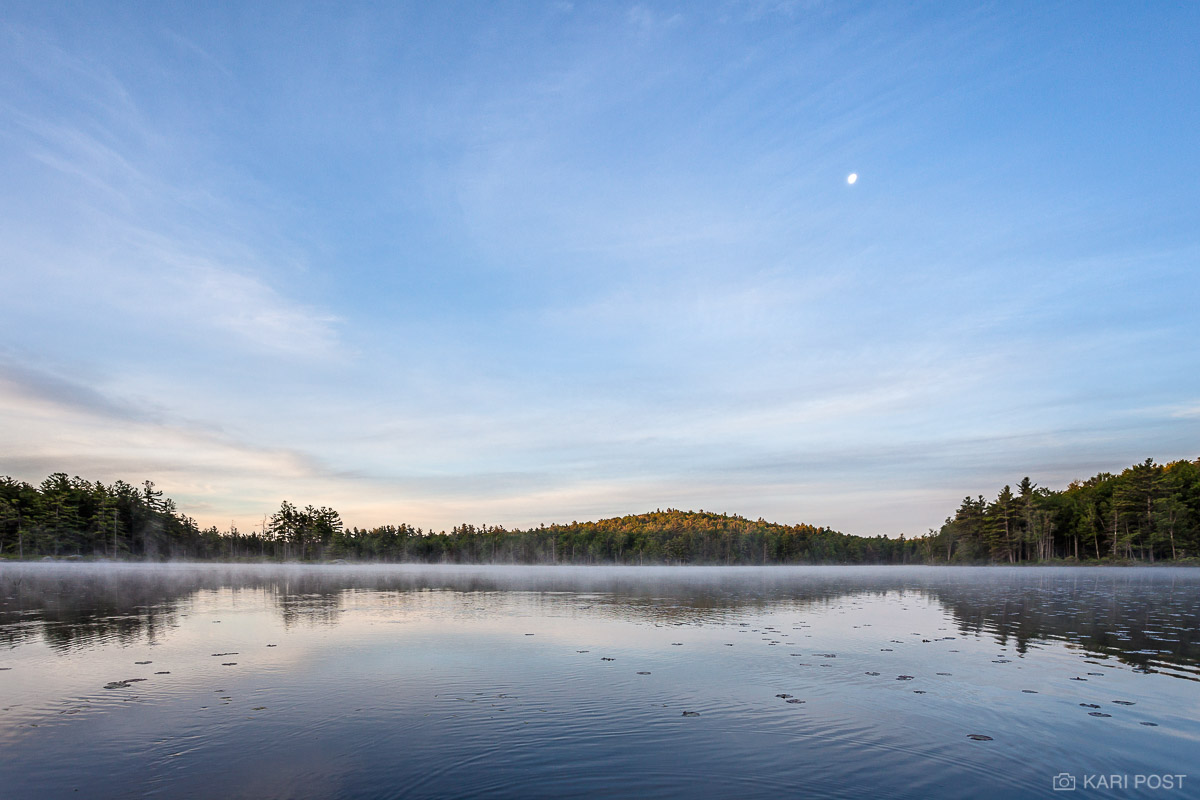 NH, New England, New Hampshire, North America, USA, United States, blue, calm, calming, clouds, landscape, mist, moon, morning, pond, scenic, soothing, summer, sunrise, photo
