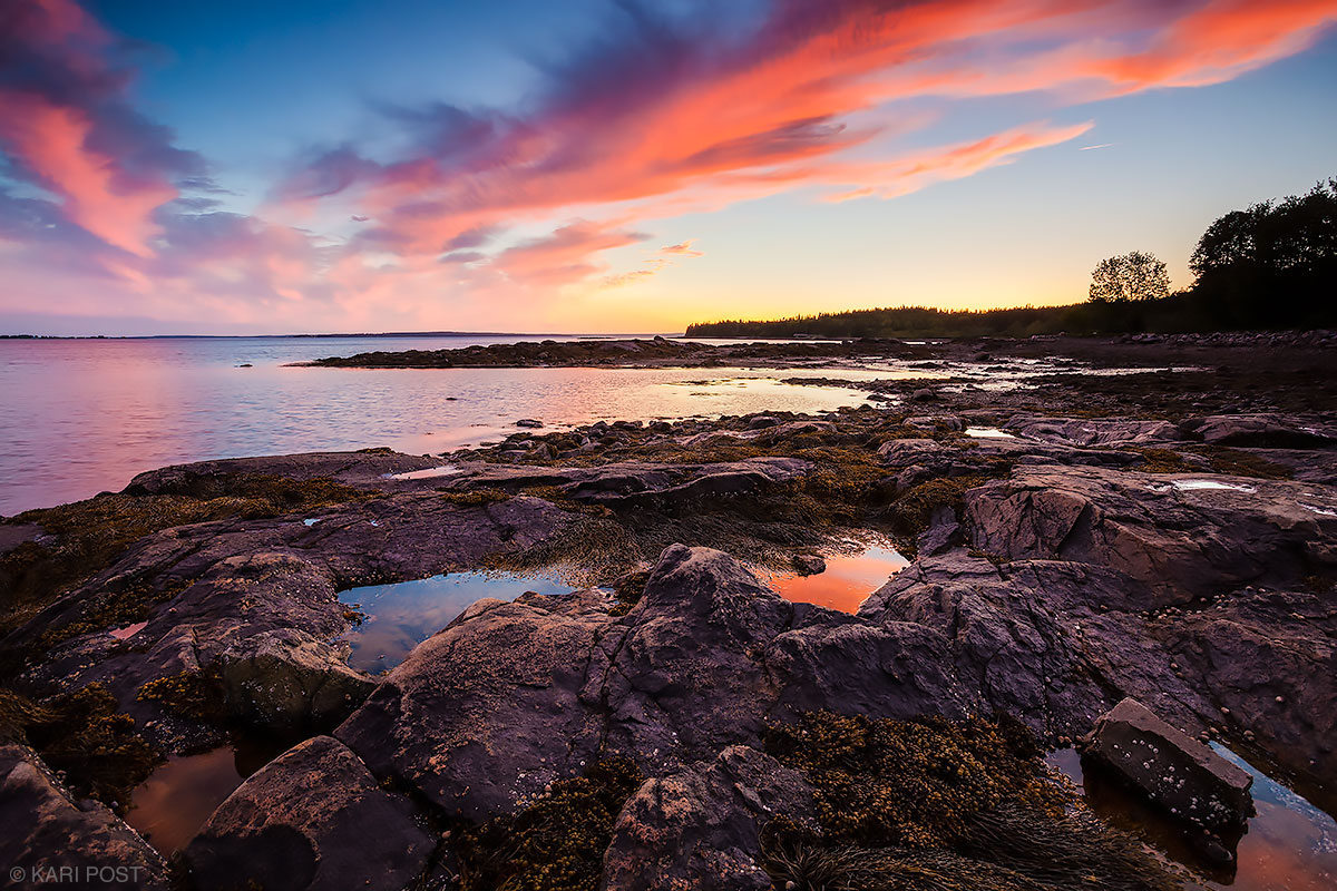 clouds, tide pool, sunset, Seal Cove, Acadia National Park, Acadia, Mount Desert Island, Maine, coast