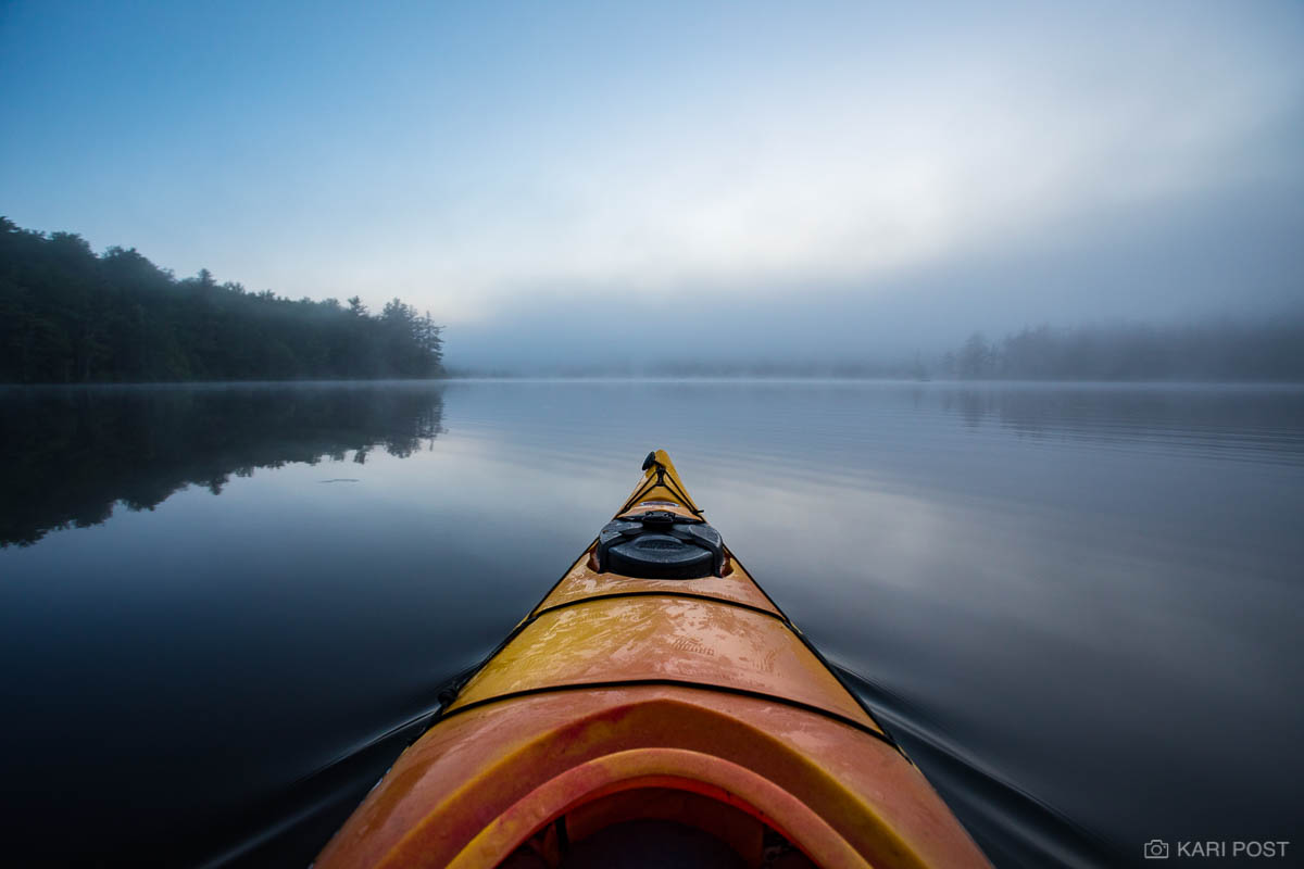 NH, New England, New Hampshire, North America, Old Town Cayuga 130, USA, United States, boat, fog, gray, grey, kayak, mist, moody, morning, outdoor recreation, pond, scenic, summer, water, wide angle, photo