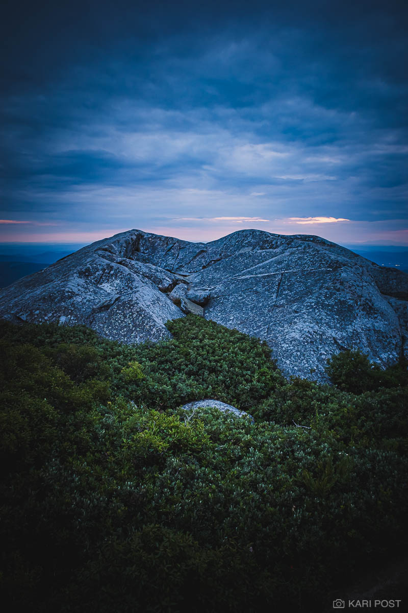 Mount Monadnock, NH, New England, New Hampshire, North America, USA, United States, blue, blue hour, dusk, hike, mountain, sunset, photo