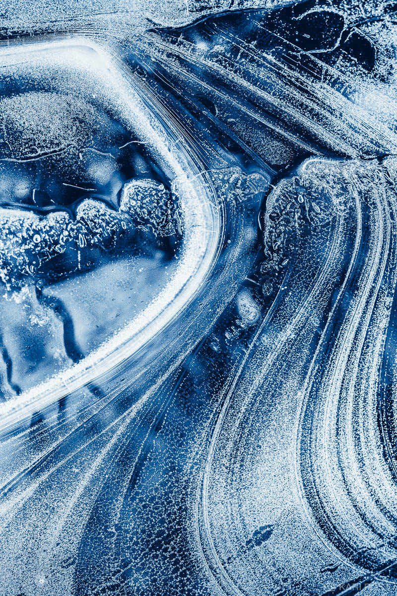 Keene, NH, New England, New Hampshire, North America, USA, United States, abstract, blue, close-up, frozen, ice, macro, monochrome, pattern, winter, photo